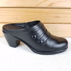 DANSKO Blake Black Leather Comfort Clog Mule Shoes